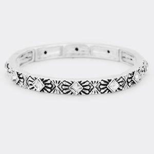 Rhinestone Antique Pattern Metal Stretch Bracelet